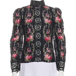NWT Loveshackfancy Jacque Top Blouse floral Silk S